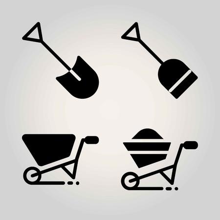 Agriculture vector icon set. shovel and wheelbarrow