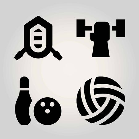 Sport vector icon set. rafting, volleyball , ball and bowling.