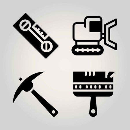 Construction vector icon set. bulldozer, level, pick and paint brush