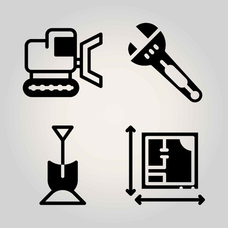 Construction vector icon set. shovel, bulldozer, wrench and blueprint