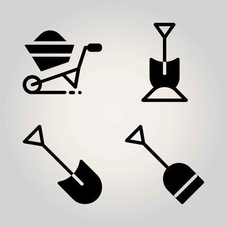 Garden vector icon set. wheelbarrow and shovel Çizim