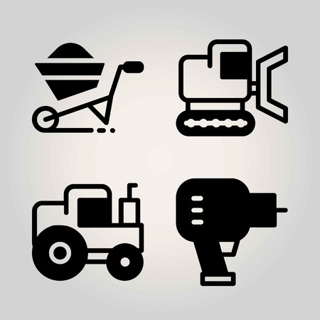 Construction vector icon set. Tractor, wheelbarrow, driller and bulldozer. Иллюстрация