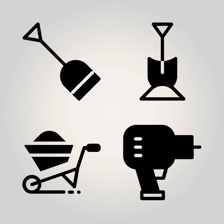 Garden vector icon set. wheelbarrow, shovel and driller Illustration