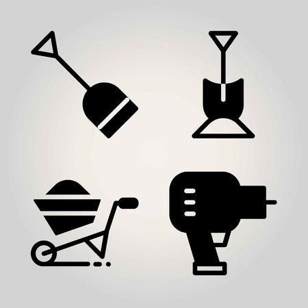 Garden vector icon set. wheelbarrow, shovel and driller Stock Illustratie