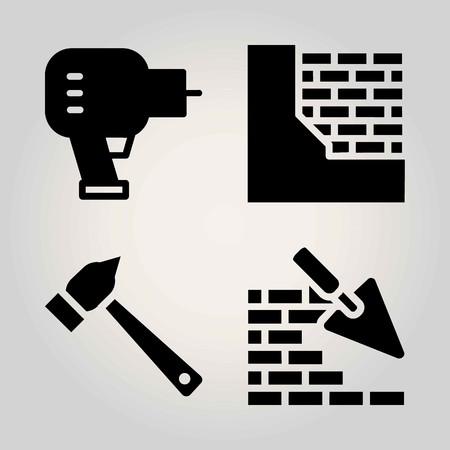 Construction vector icon set. brickwall, driller and hammer 矢量图像