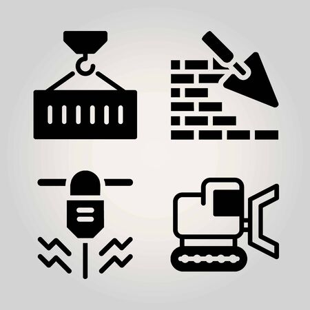 Construction vector icon set. brickwall, driller, bulldozer and container Иллюстрация