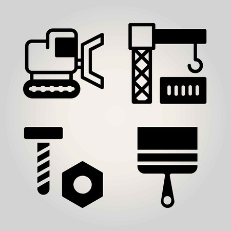 Construction vector icon set. Bulldozer, crane, screw and paint brush.