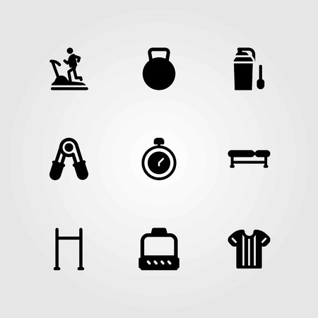 Fitness vector icons set. protein, pull up bar and chronometer