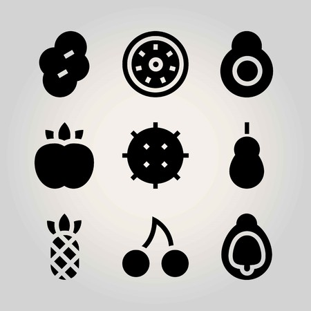 Fruits vector icon set. peach, lychee, fig and kiwi Ilustração