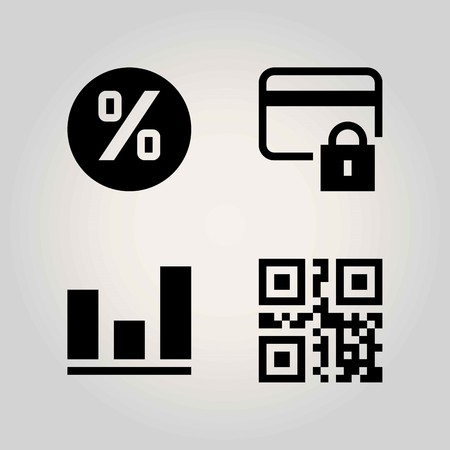Technology vector icon set. analutics, persentage, scan and lock