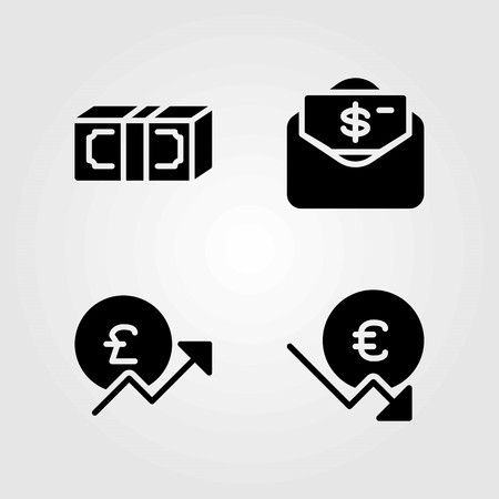 Sign vector icons set. money, dollar and pound sterling