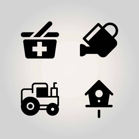 Agriculture vector icon set. basket, tractor, can and birdhouse