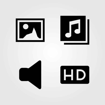 Multimedia vector icons set. hd, speaker and quaver Vettoriali