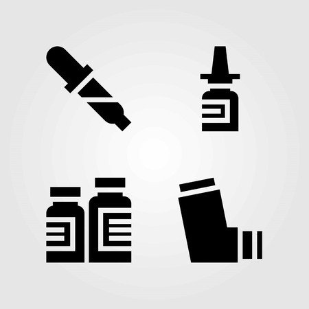 Medische vector iconen set. neusspray, pipet en inhalator