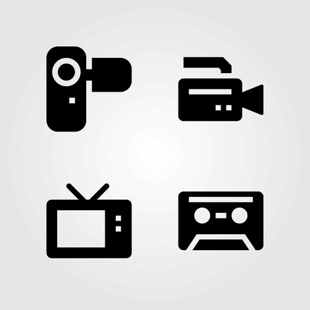 Technology vector icons set. camera, tv and cassette Ilustração