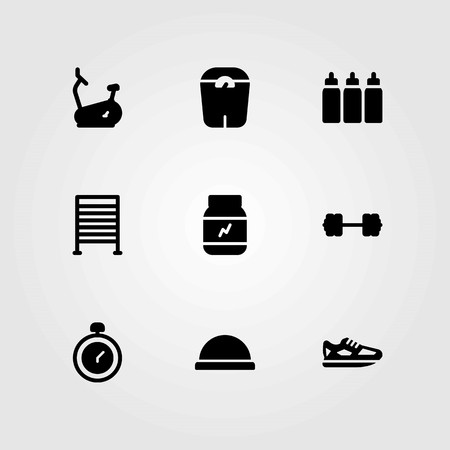 Fitness vector icons set. stationary bike, dumbbell and chronometer