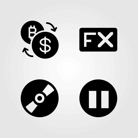 Buttons vector icons set. pause, compact disc and exchange