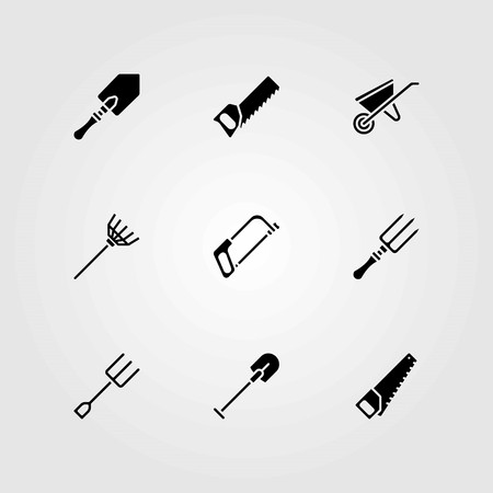 Garden vector icons set. rake, wheelbarrow and handsaw