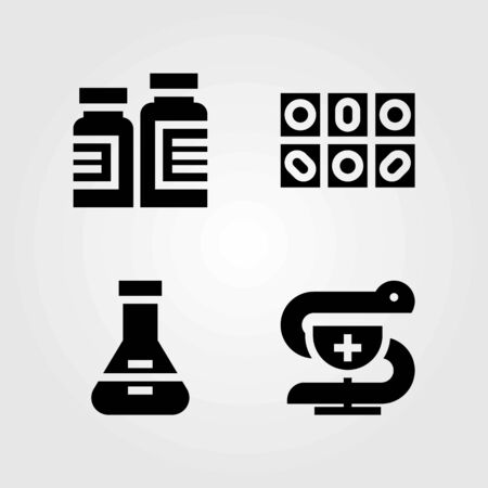 Medical vector icons set. flask, pharmacy and medicine