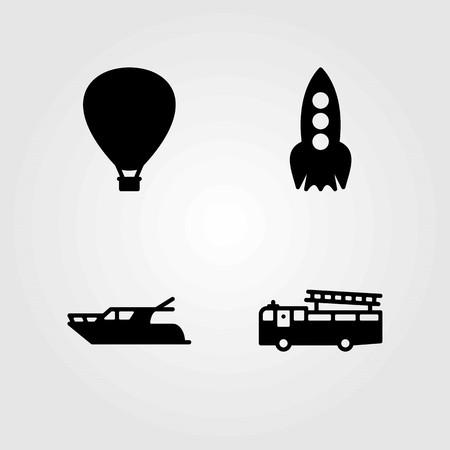 Transport vector icons set. yatch, fire truck and rocket