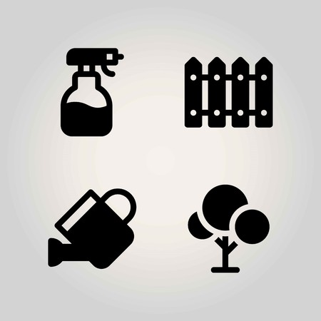 Agriculture vector icon set. sprayer, can, fence and watering can Ilustrace