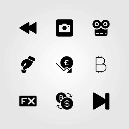 Buttons vector icons set. movie player, coin and donate
