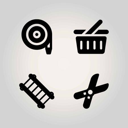 Boerderij vector icon set. snoeischaar, winkelmandje, ladder en slang