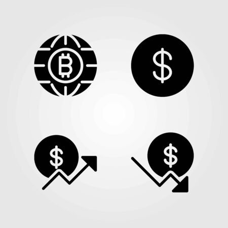 Sign vector icons set. dollar, dollar coin and coin