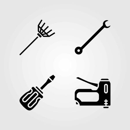 Tools vector icons set. rake, spanner and staple gun Ilustrace