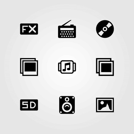 Multimedia vector icons set. speaker, radio and music player