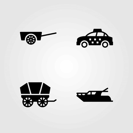 Transport vector icons set. yatch, cart and taxi