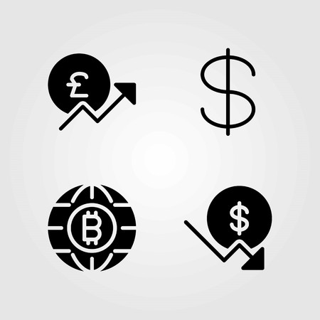Money vector icons set. dollar, coin and pound sterling