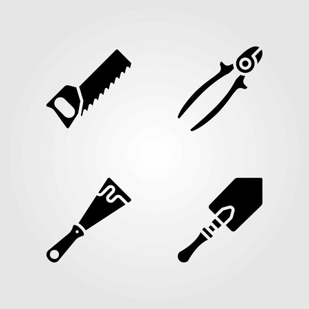 Tools vector icons set. wire cutter, handsaw and shovel
