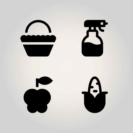 Agriculture vector icon set. basket, corn, apple and sprayer