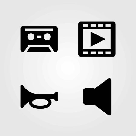 Multimedia vector icons set. trumpet, movie player and mute
