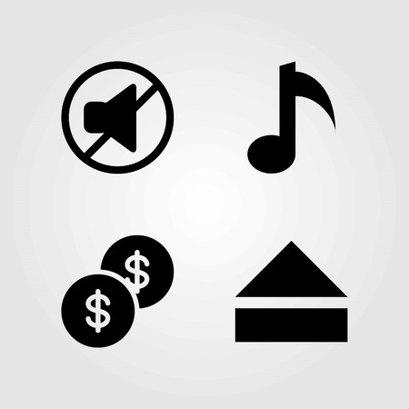 Buttons vector icons set. musical note, dollar coin and mute Illustration