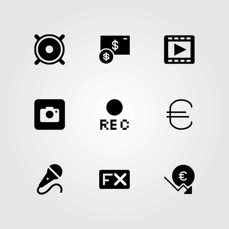 Buttons vector icons set. microphone, movie player and photo camera Illustration
