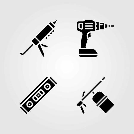 도구 벡터 아이콘을 설정합니다. 레벨, 용접기 및 실란트 건 일러스트