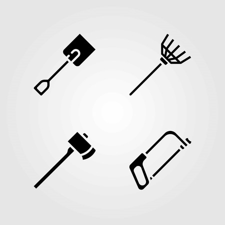 Garden vector icons set. rake, axe and handsaw