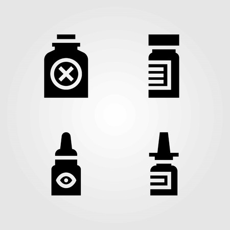 Medical vector icons set. medicine, eye drops and poison