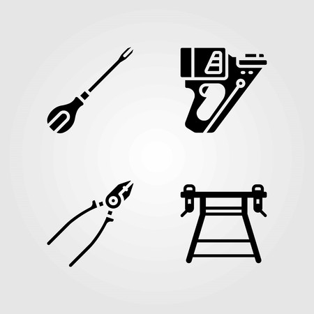 Tools vector icons set. pliers, screwdriver and work brench