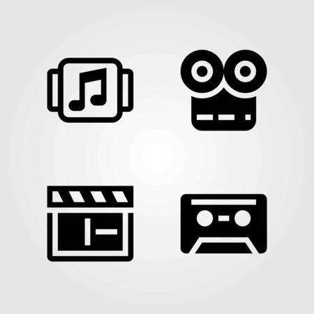 Multimedia vector icons set. clapperboard, cassette and music player Ilustração