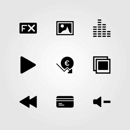 Buttons vector icons set. credit card, picture and euro