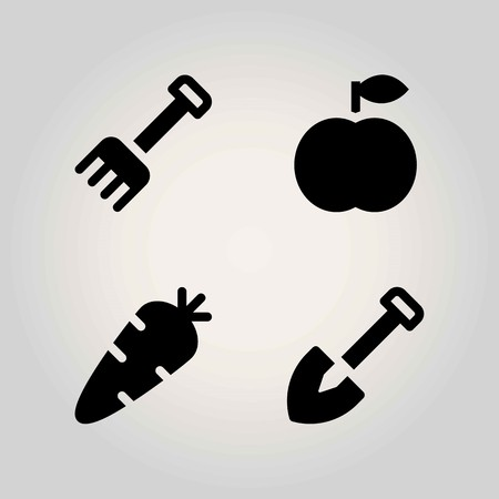 Agriculture vector icon set. shovel, carrot, rake and peach