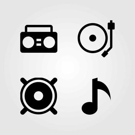 Multimedia vector icons set. speaker, musical note and turntable