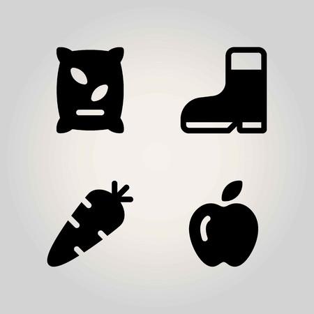 Farm vector icon set. carrot, fertilizer, apple and boot Vetores