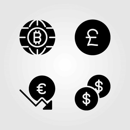 Money vector icons set. coin, dollar coin and euro