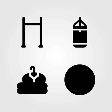 Fitness vector icons set. ball, punching and punching bar Illustration