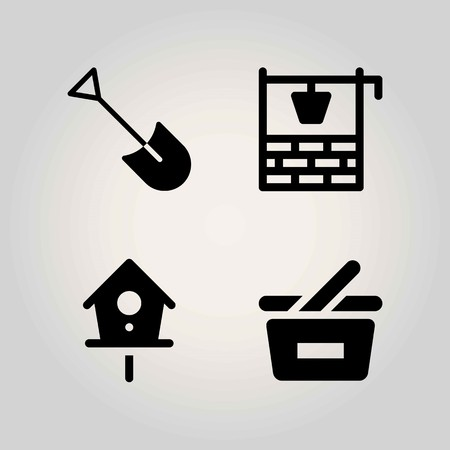 Agriculture vector icon set. basket, shopping basket, birdhouse and shovel