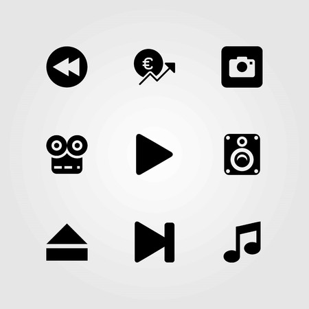 Buttons vector icons set. next, eject and photo camera Illustration